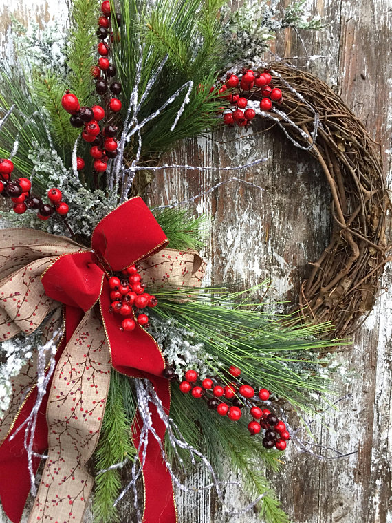Winter Christmas Wreath, $92.00, Etsy Marigolds Designs